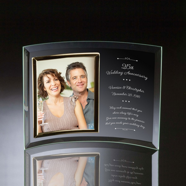 25th Wedding Anniversary Curved Gl Vertical 8x10 Photo Frame
