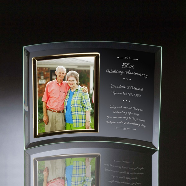 50th Wedding Anniversary Curved Glass Vertical 8x10 Photo Frame