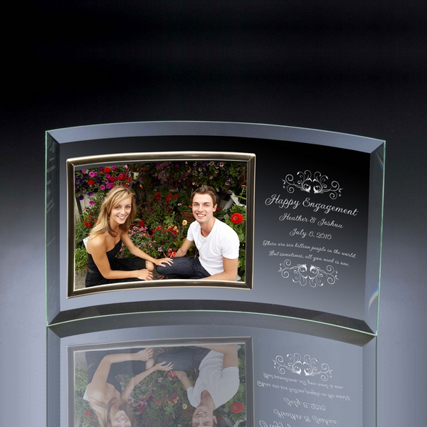 engagement curved glass horizontal 5x7 photo frame - Engagement Picture Frames