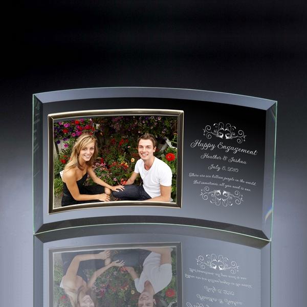 engagement curved glass horizontal 5x7 photo frame - Engagement Photo Frames