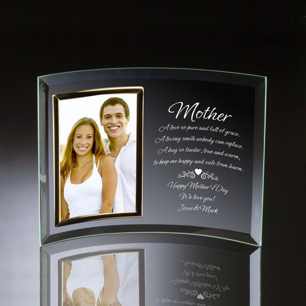 Mother Curved Glass 4x6 Photo Frame Engraved Glass Picture Frame For Mom Personalized Photo