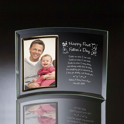 Happy First Fathers Day Curved Glass Personalized 4x6 Photo frame