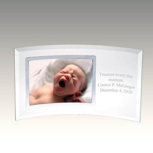 Curved Glass Horizontal Silver 4x6 Photo Frame