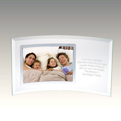 Curved Glass Horizontal Silver 5x7 Photo Frame
