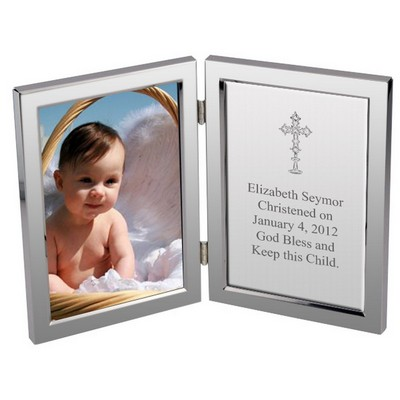 Silver Cross Baptism Personalized Message Frame