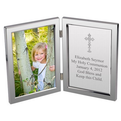 Silver Cross First Communion Personalized Message Frame