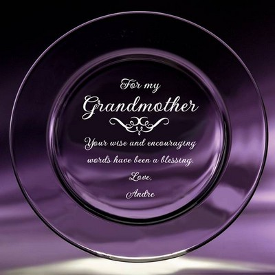 Personalized Crystal plate for grandma