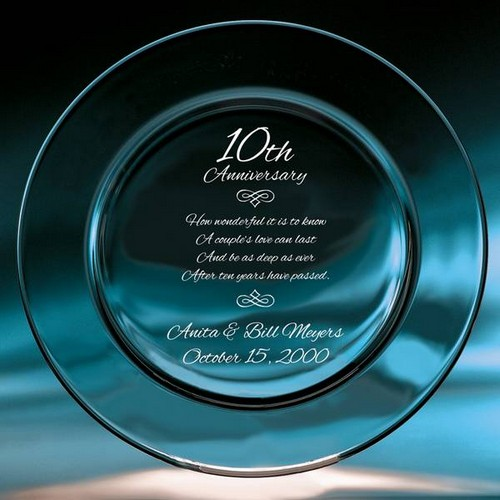 10th Year Wedding Anniversary Crystal Plate