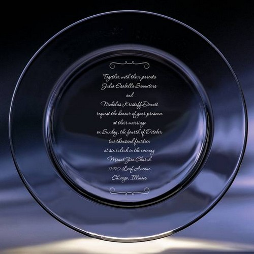 Crystal Wedding Invitation Keepsake Plate