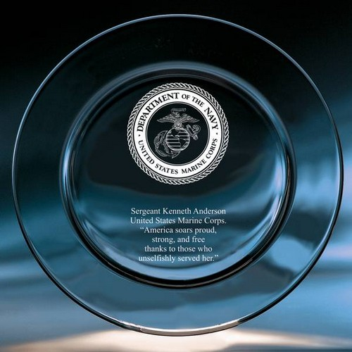 Marines Crystal Keepsake Plate