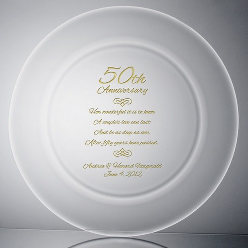 50th Wedding Anniversary Crystal and Gold Plate