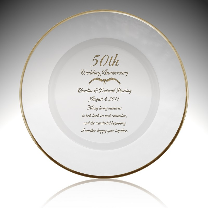 Personalized Glass 50th Anniversary Plate With Gold Rim