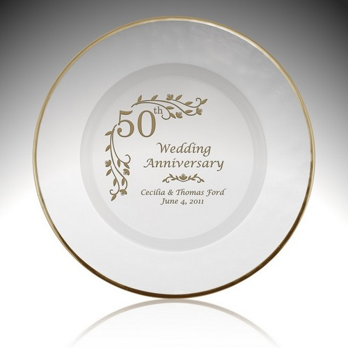 Personalized Glass Floral 50th Anniversary Plate with Gold Rim