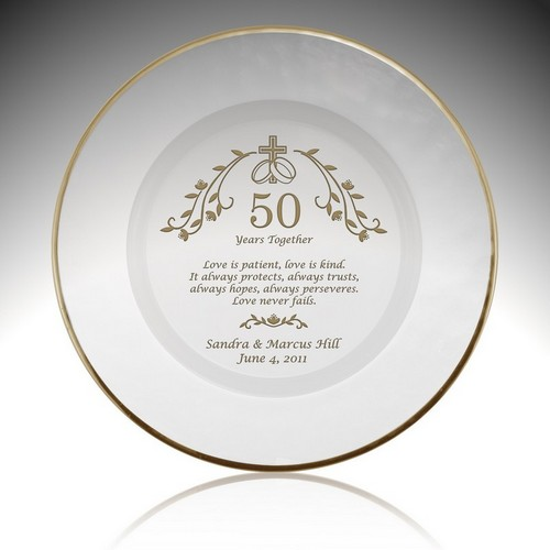 Holy Union Personalized 50th Anniversary Plate with Gold Rim