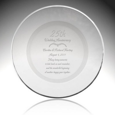 Personalized Glass 25th Anniversary Plate with Silver Rim