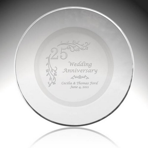 Personalized Glass Floral 25th Anniversary Plate with Silver Rim
