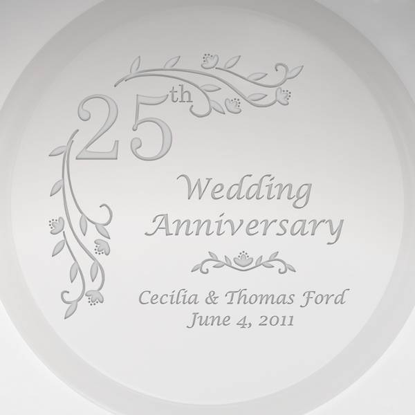 personalized glass floral 25th anniversary plate with