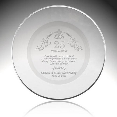 Holy Union Personalized 25th Anniversary Plate with Silver Rim