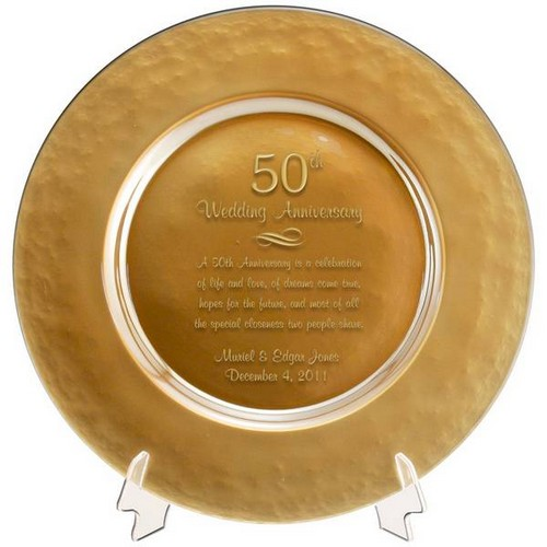 Personalized Gold Glass 50th Anniversary Plate