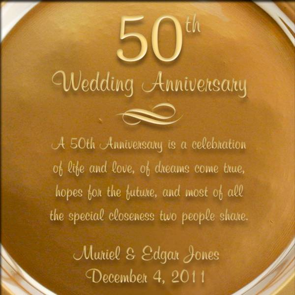 Personalized Gold Gl 50th Anniversary Plate