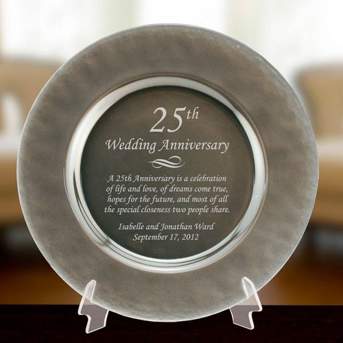 Personalized Silver Glass 25th Anniversary Plate