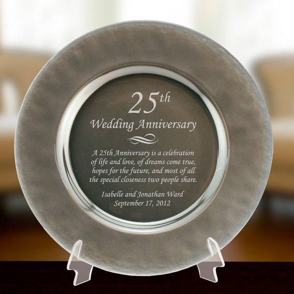 Personalized Silver Gl 25th Anniversary Plate