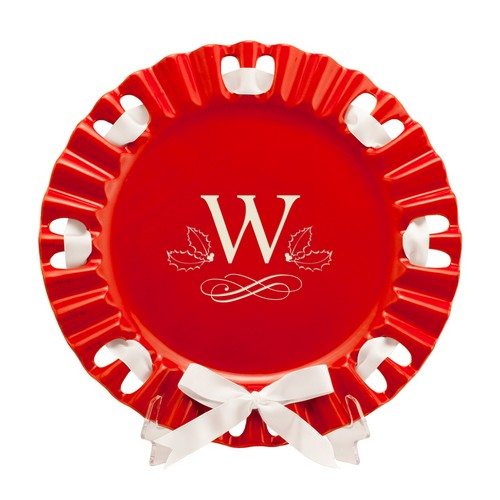 Holiday Round Red Ribbon Platter