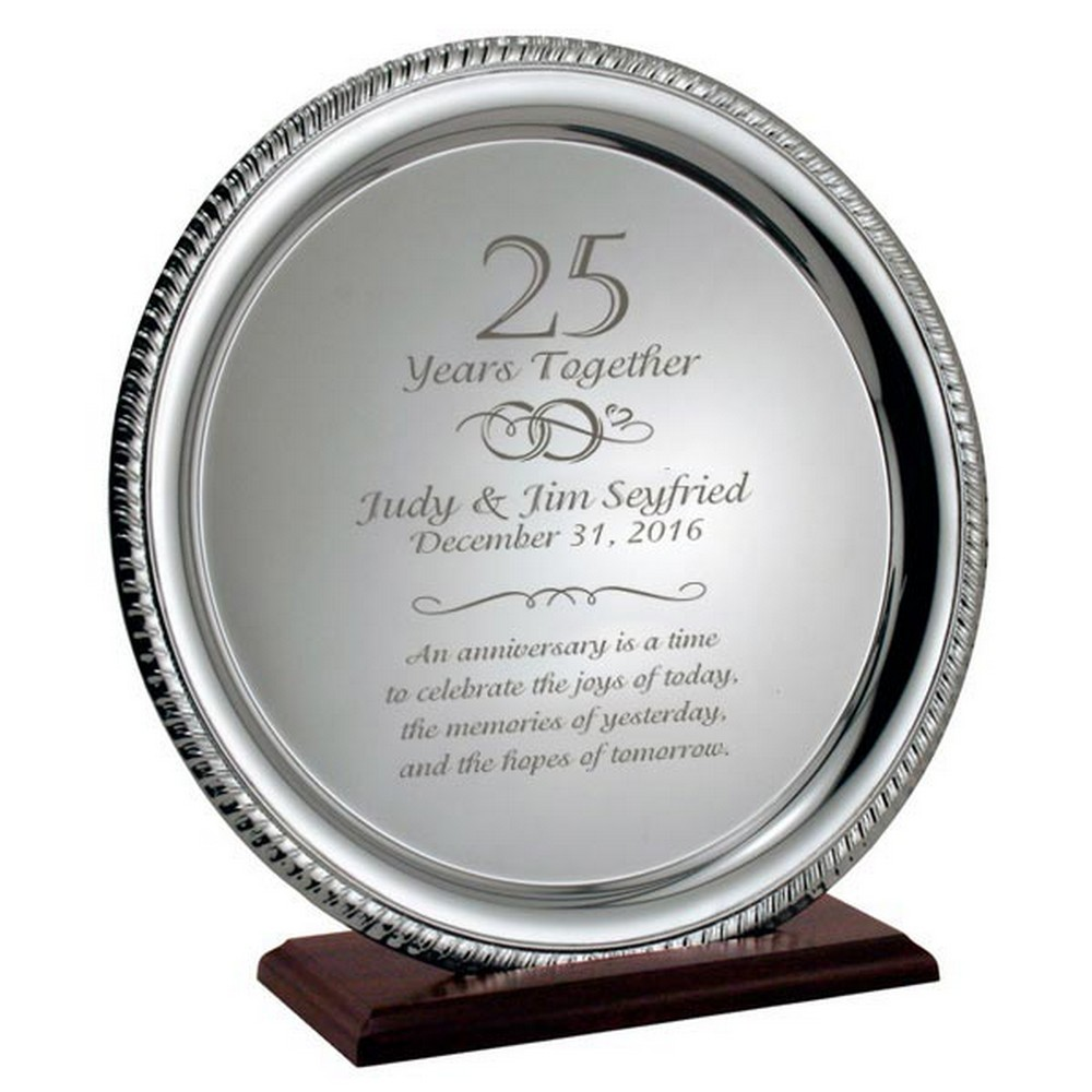 silver 25th anniversary personalized plate on wood base