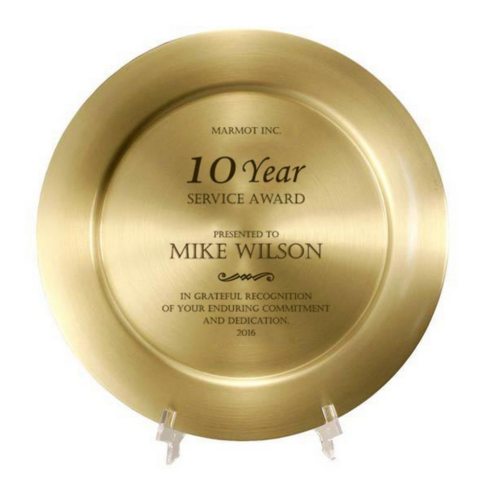 Personalized Gold Brass Plate Years Of Service Award