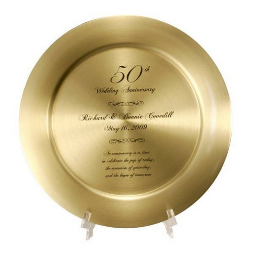 50th Anniversary Solid Brass Keepsake Plate