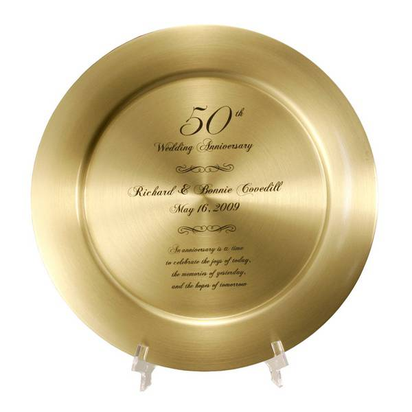 Impressive Personalized 50th Anniversary Solid Br Keepsake Plate