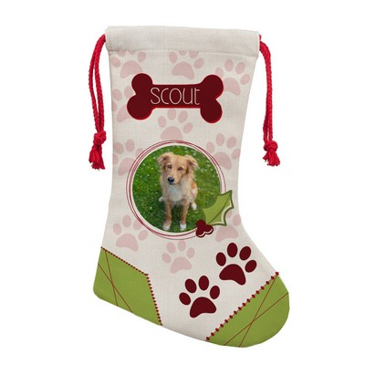 Paw Prints Personalized Photo Christmas Stocking for Pets