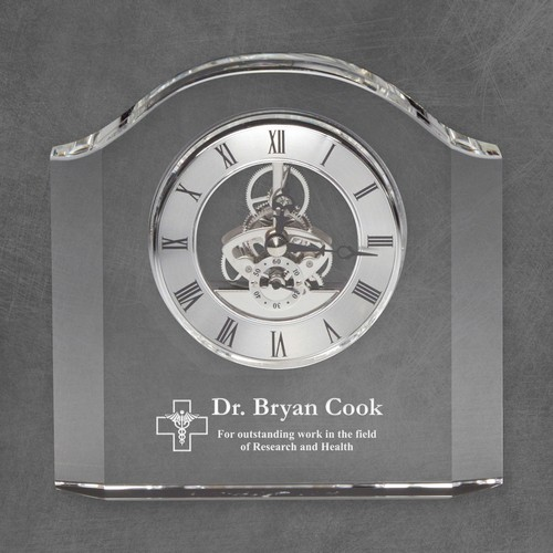 Personalized Crystal Clock with Caduceus for Doctors