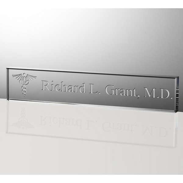 Personalized 12 Inch Crystal Nameplate for Doctors