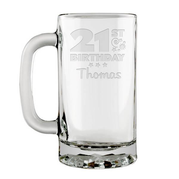 Personalized 21st Birthday Glass Beer Mug