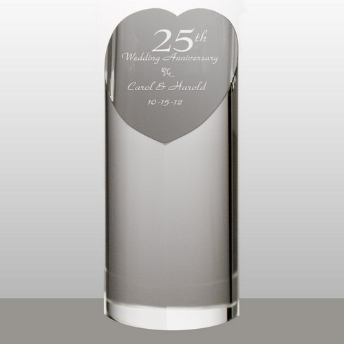 Personalized 25th Anniversary Crystal Heart