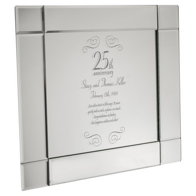 Personalized 25th Anniversary Elegant Mirrored Plate