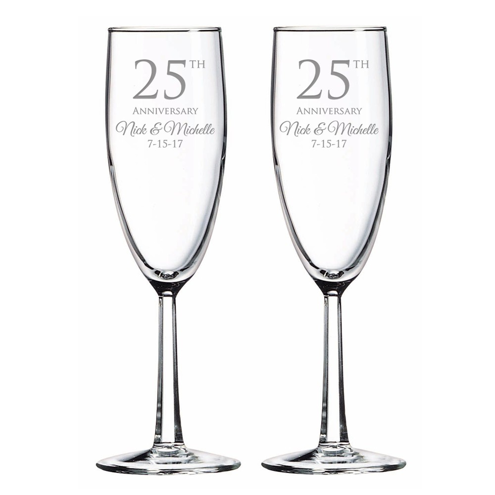 Personalized 25th Anniversary Glass Toasting Flute Set