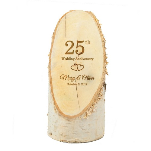 Personalized 25th Anniversary Natural Birch Wood Plaque