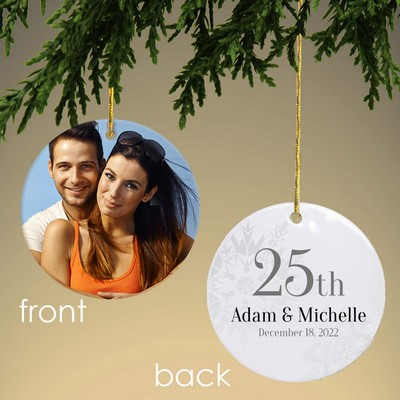Personalized 25th Anniversary Photo Ornament