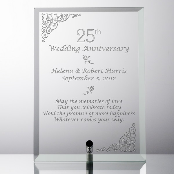 Personalized 25th Wedding Anniversary Gl Plaque