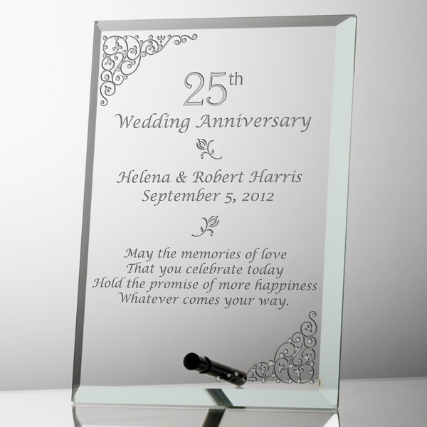 personalized 25th wedding anniversary glass plaque