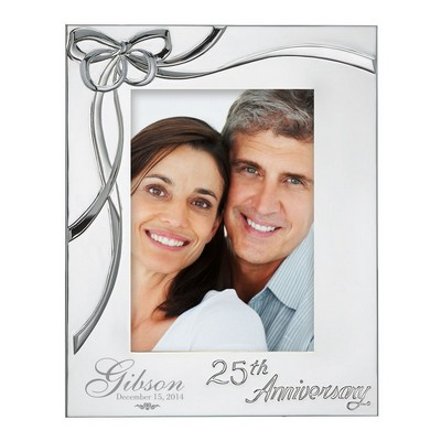 Personalized 25th Wedding Anniversary Silver Plated 5x7 Ribbon Picture Frame