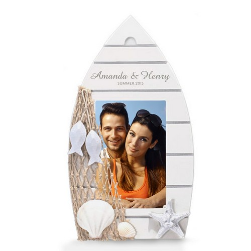 Personalized 4x6 Beach Couples White Wood Boat Frame