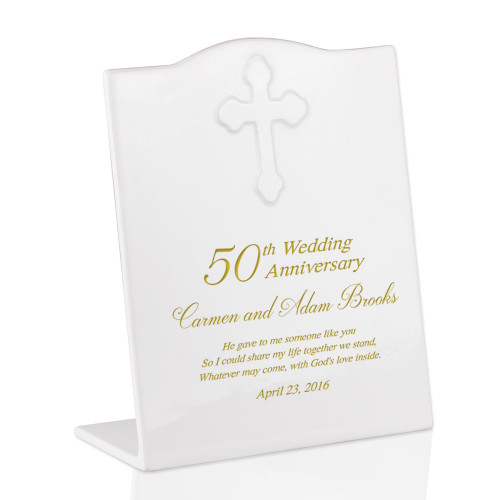 Personalized 50th Anniversary Ceramic Keepsake Plaque