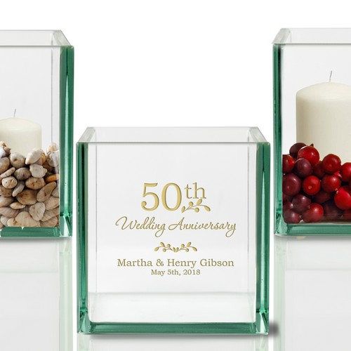 Personalized 50th Anniversary Glass Cube Candle Holder