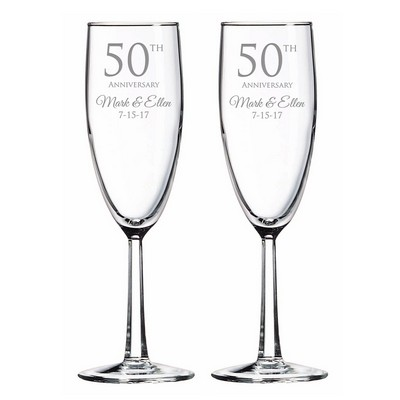 Personalized 50th Anniversary Glass Toasting Flute Set