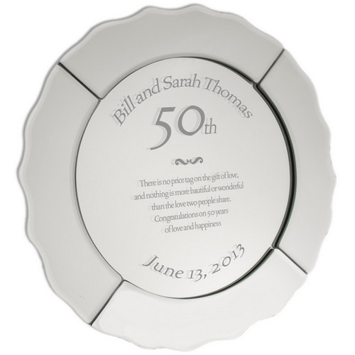 Personalized 50th Anniversary Mirrored Plate