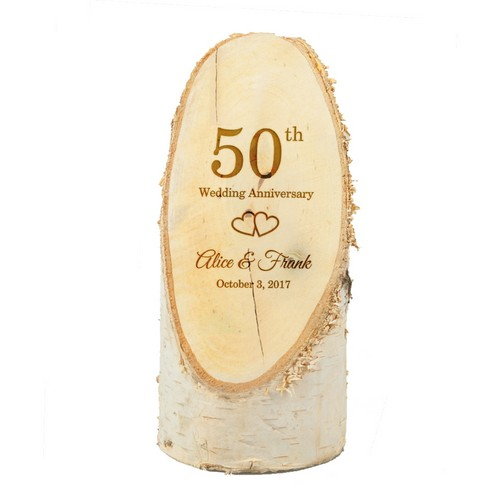 Personalized 50th Anniversary Natural Birch Wood Plaque