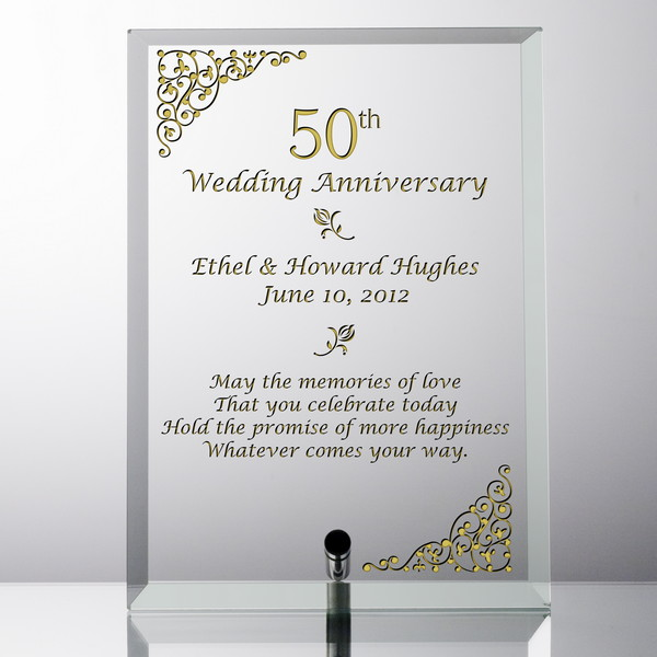 Elegant Personalized 50th Wedding Anniversary Gl Plaque